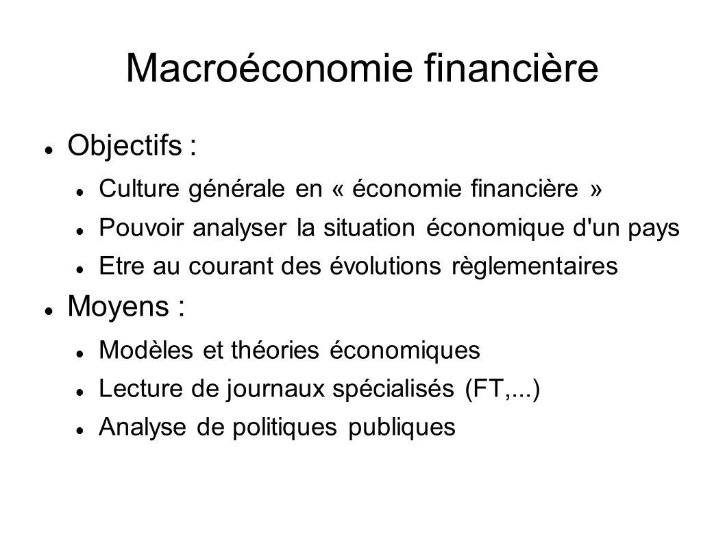 Macroéconomie financière Objectifs : Culture générale en « économie financière » Pouvoir analyser la situation économique d'un pays Etre au courant de