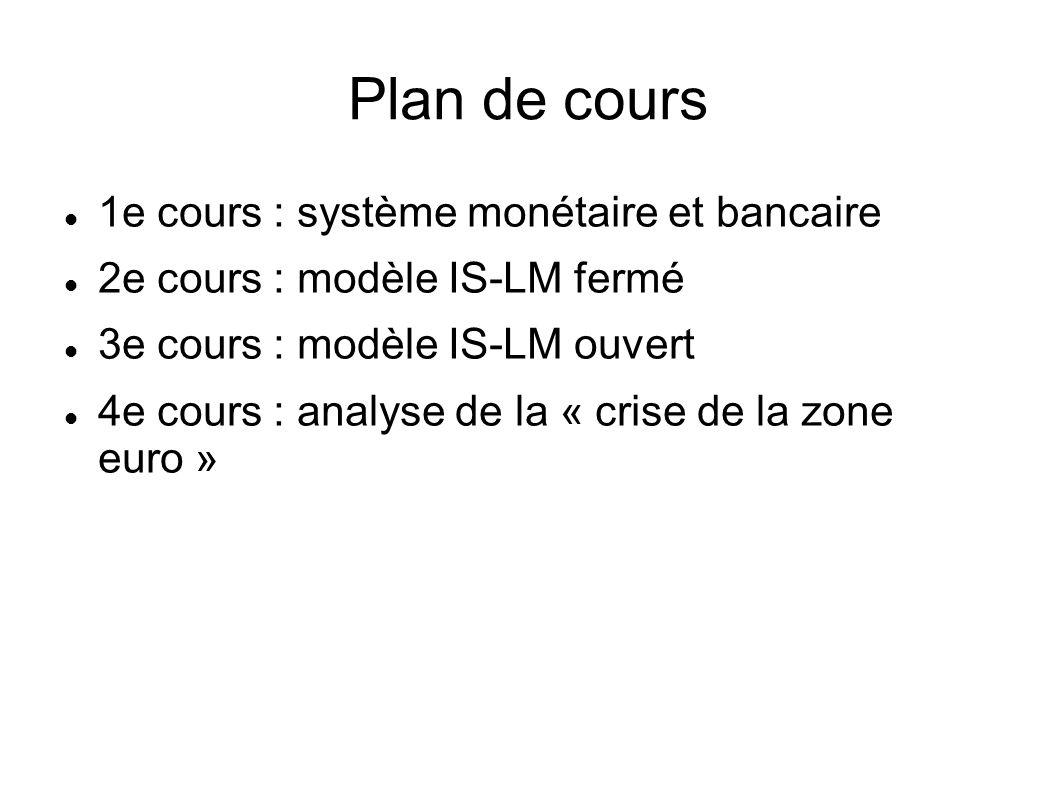 Plan de cours 1e cours : système monétaire et bancaire 2e cours : modèle IS-LM fermé 3e cours : modèle IS-LM ouvert 4e cours : analyse de la « crise de la zone euro »