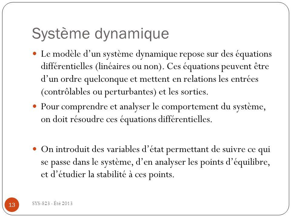 Système dynamique SYS-823 - Été 2013 13 Le modèle dun système dynamique repose sur des équations différentielles (linéaires ou non).