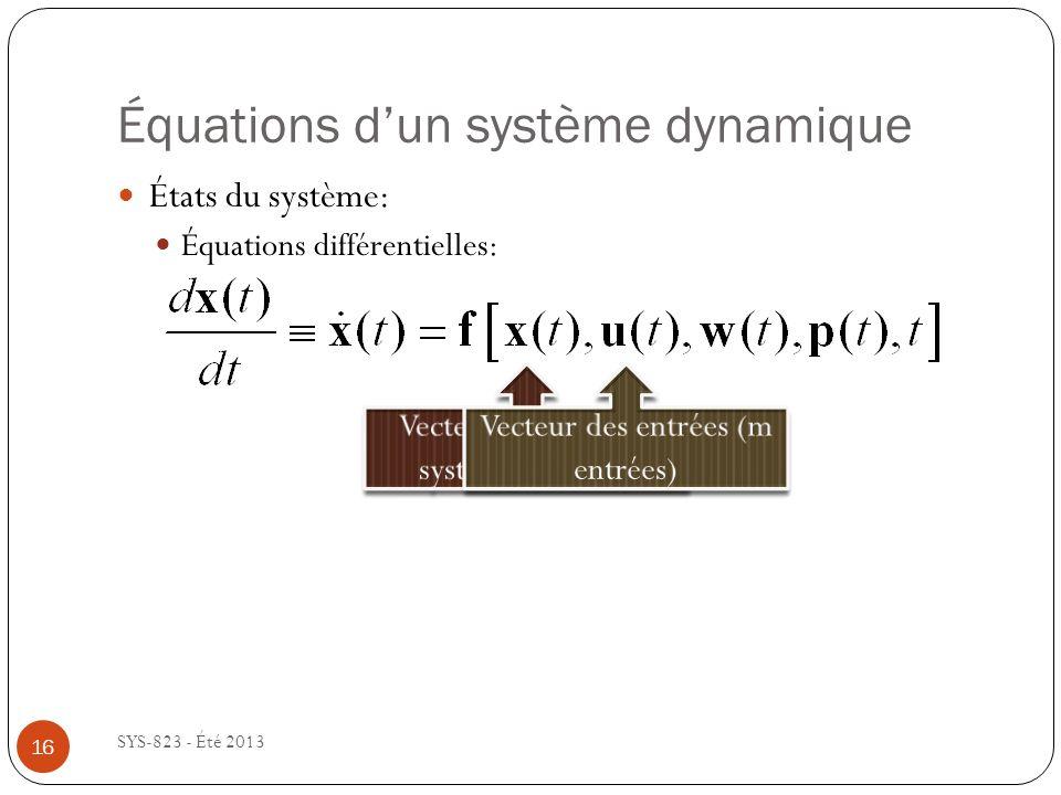 Équations dun système dynamique SYS-823 - Été 2013 États du système: Équations différentielles: 16