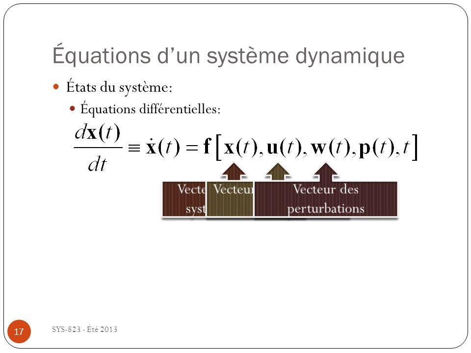 Équations dun système dynamique SYS-823 - Été 2013 États du système: Équations différentielles: 17