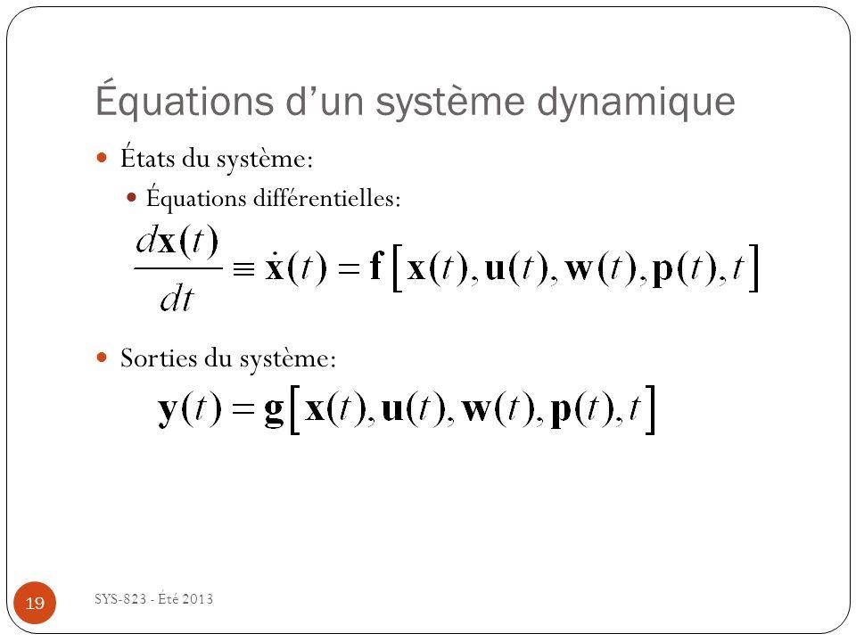 Équations dun système dynamique SYS-823 - Été 2013 États du système: Équations différentielles: Sorties du système: 19