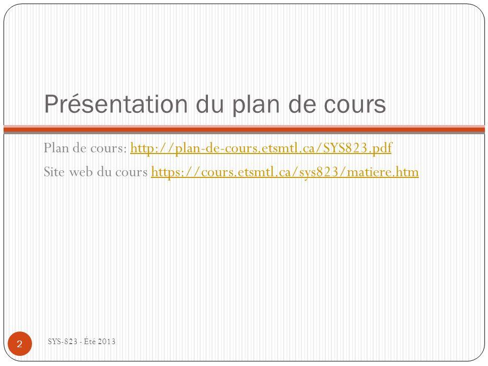 Présentation du plan de cours Plan de cours: http://plan-de-cours.etsmtl.ca/SYS823.pdfhttp://plan-de-cours.etsmtl.ca/SYS823.pdf Site web du cours https://cours.etsmtl.ca/sys823/matiere.htmhttps://cours.etsmtl.ca/sys823/matiere.htm SYS-823 - Été 2013 2