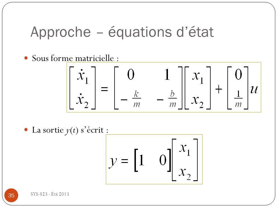 Approche – équations détat SYS-823 - Été 2013 Sous forme matricielle : La sortie y(t) sécrit : 35