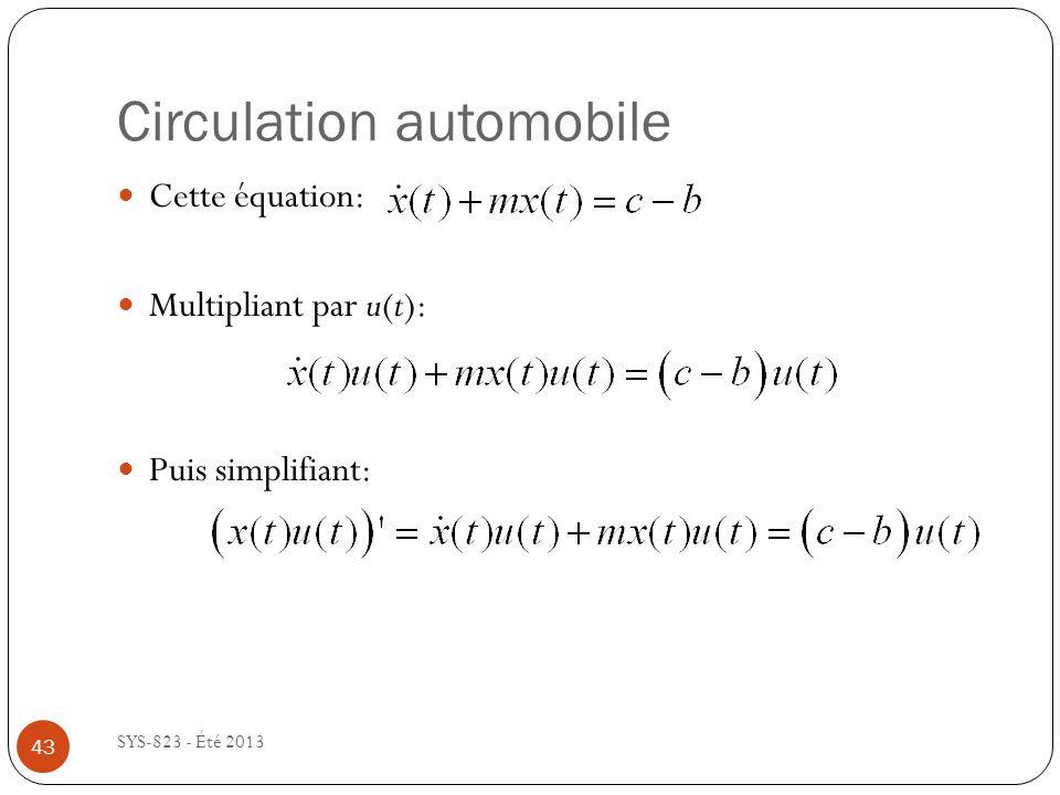 Circulation automobile SYS-823 - Été 2013 Cette équation: Multipliant par u(t): Puis simplifiant: 43