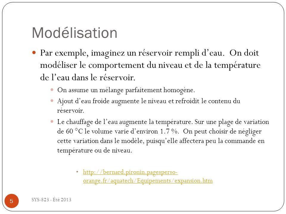 Modélisation SYS-823 - Été 2013 5 Par exemple, imaginez un réservoir rempli deau.
