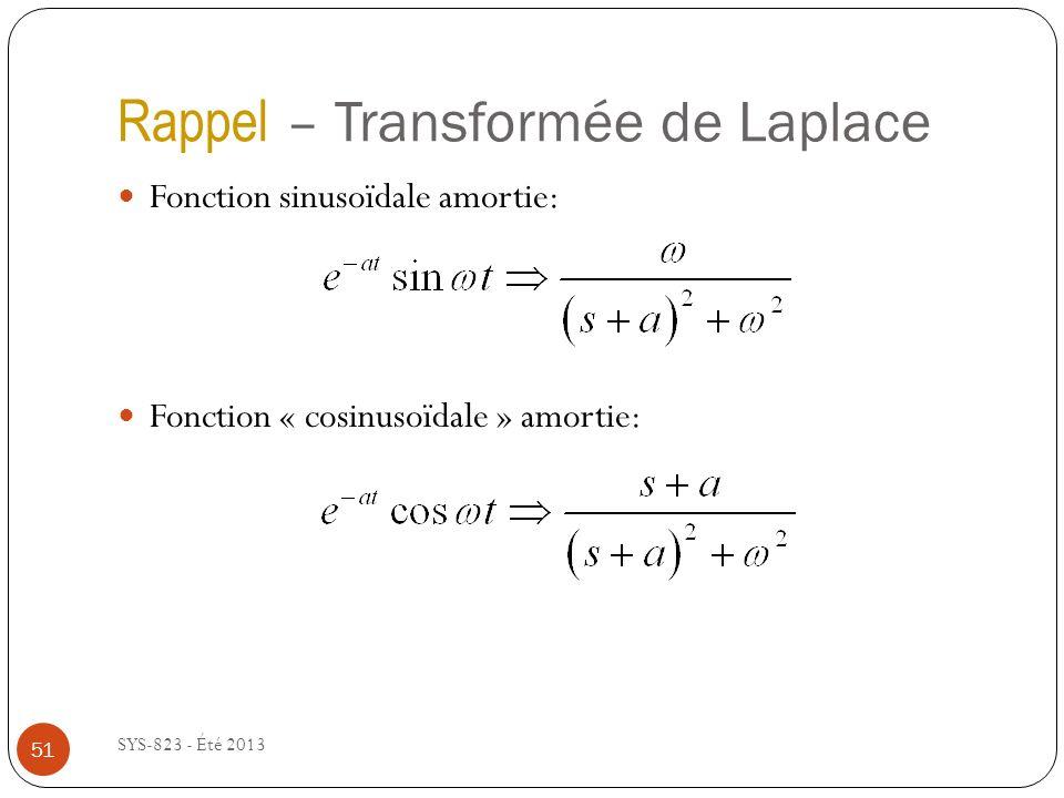 Rappel – Transformée de Laplace SYS-823 - Été 2013 Fonction sinusoïdale amortie: Fonction « cosinusoïdale » amortie: 51
