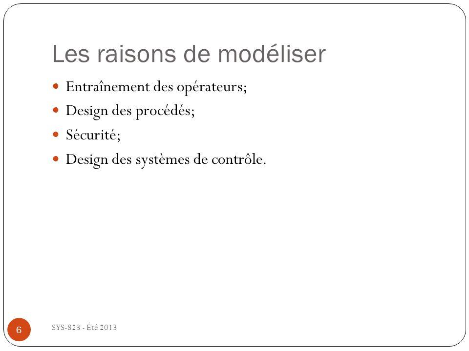 Les raisons de modéliser SYS-823 - Été 2013 Entraînement des opérateurs; Design des procédés; Sécurité; Design des systèmes de contrôle.