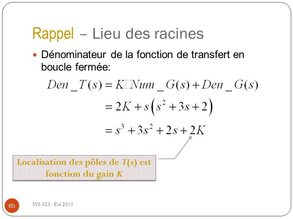 Rappel – Lieu des racines SYS-823 - Été 2013 Dénominateur de la fonction de transfert en boucle fermée: Localisation des pôles de T(s) est fonction du gain K 65