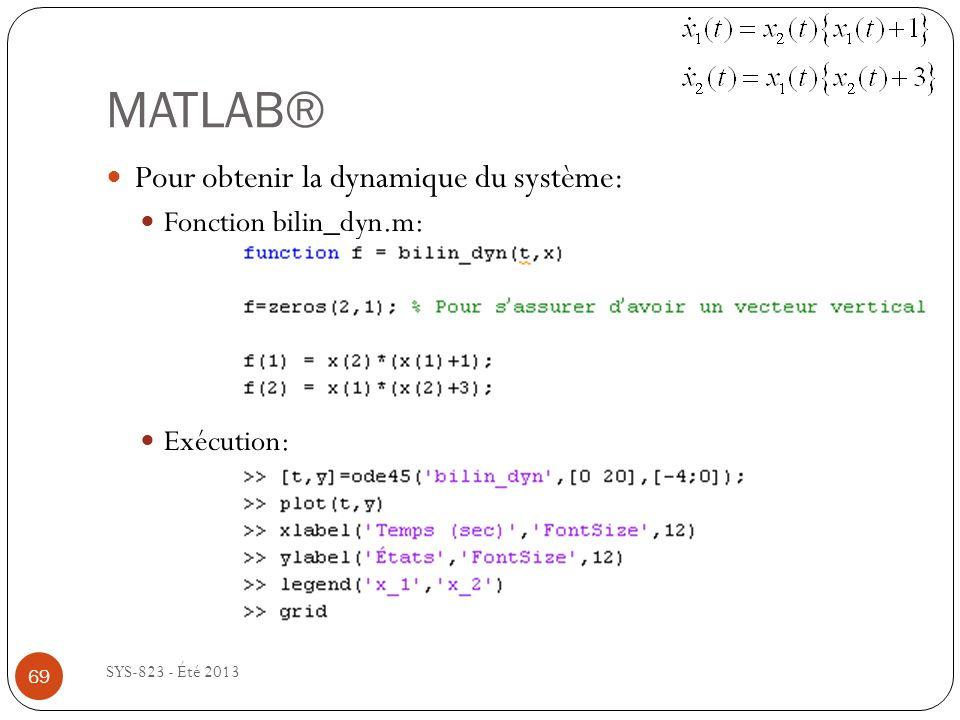 MATLAB® SYS-823 - Été 2013 Pour obtenir la dynamique du système: Fonction bilin_dyn.m: Exécution: 69