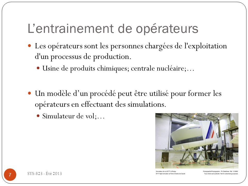 Le design de procédés industriels SYS-823 - Été 2013 Le modèle mathématique dun procédé industriel peut être utilisé lors de la phase de design pour faciliter le dimensionnement des équipements pour obtenir la capacité de production voulu.