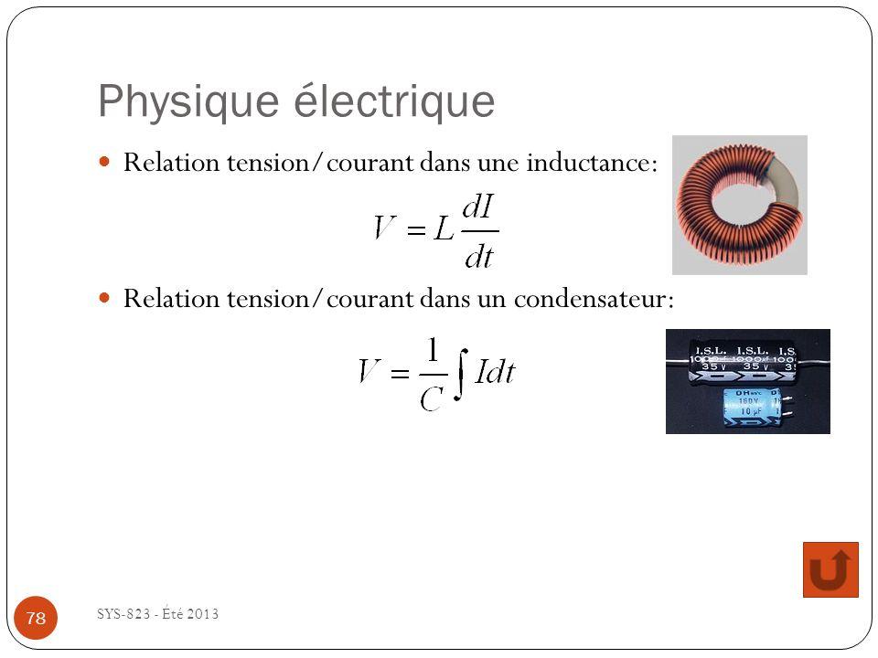 Physique électrique SYS-823 - Été 2013 Relation tension/courant dans une inductance: Relation tension/courant dans un condensateur: 78