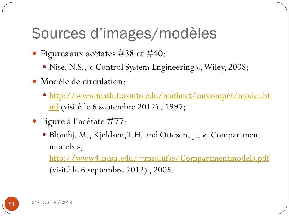 Sources dimages/modèles SYS-823 - Été 2013 81 Figures aux acétates #38 et #40: Nise, N.S., « Control System Engineering », Wiley, 2008; Modèle de circulation: http://www.math.toronto.edu/mathnet/carcompet/model.ht ml (visité le 6 septembre 2012), 1997; http://www.math.toronto.edu/mathnet/carcompet/model.ht ml Figure à lacétate #77: Blomhj, M., Kjeldsen, T.H.