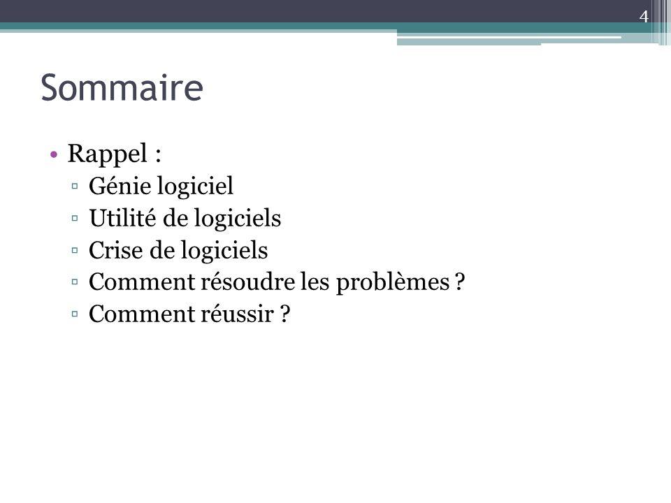 Rappel : Génie logiciel Utilité de logiciels Crise de logiciels Comment résoudre les problèmes .