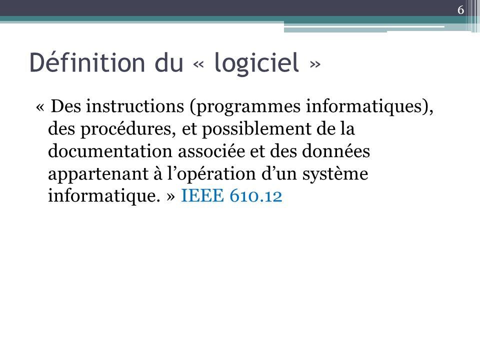 Définition du « logiciel » « Des instructions (programmes informatiques), des procédures, et possiblement de la documentation associée et des données appartenant à lopération dun système informatique.
