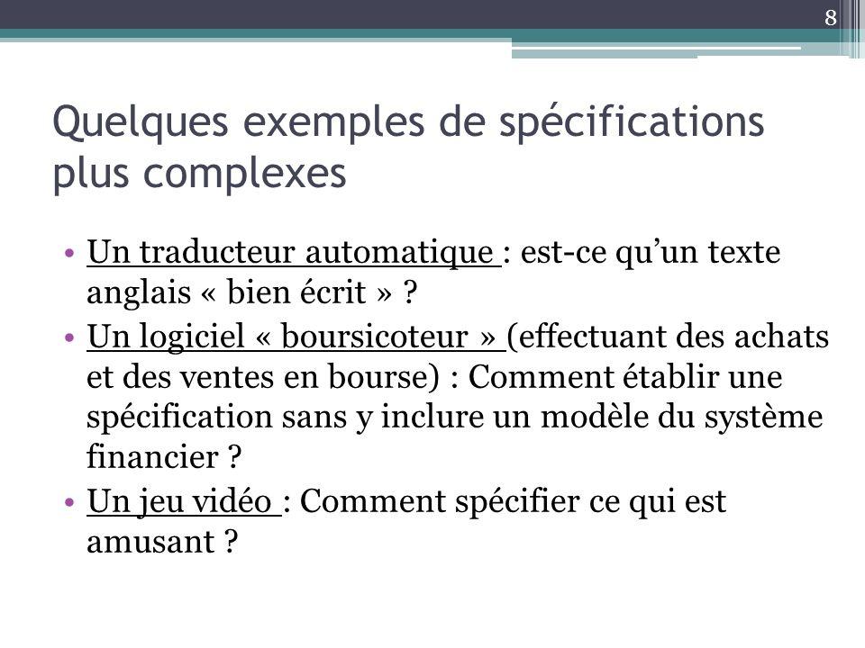 Quelques exemples de spécifications plus complexes Un traducteur automatique : est-ce quun texte anglais « bien écrit » .