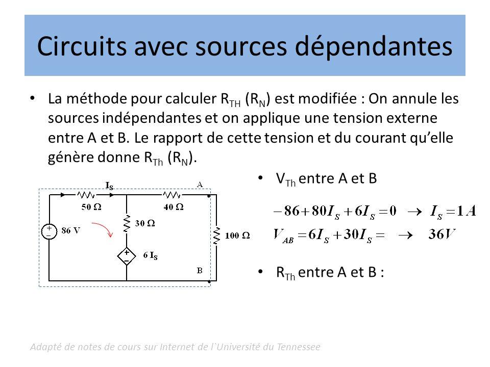 Adapté de notes de cours sur Internet de l`Université du Tennessee Circuits avec sources dépendantes La méthode pour calculer R TH (R N ) est modifiée