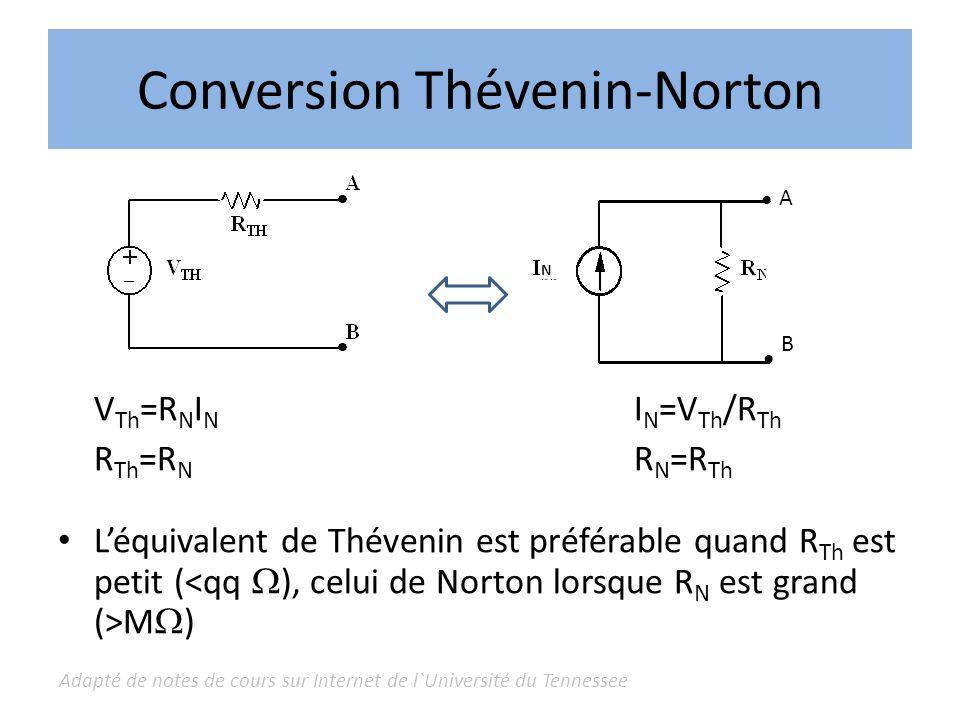 Adapté de notes de cours sur Internet de l`Université du Tennessee Conversion Thévenin-Norton V Th =R N I N I N =V Th /R Th R Th =R N R N =R Th Léquiv