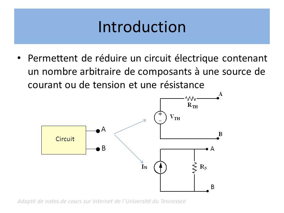 Adapté de notes de cours sur Internet de l`Université du Tennessee Théorème de Thévenin Le Théorème de Thévenin permet la substitution suivante : Partant du circuit initial : – V TH = tension mesurée entre A et B – R TH = résistance mesurée entre A et B en labsence de toute source idéale de tension ou de courant On annule une source de tension en reliant ses bornes On annule une source de courant en l`enlevant du circuit Circuit A B