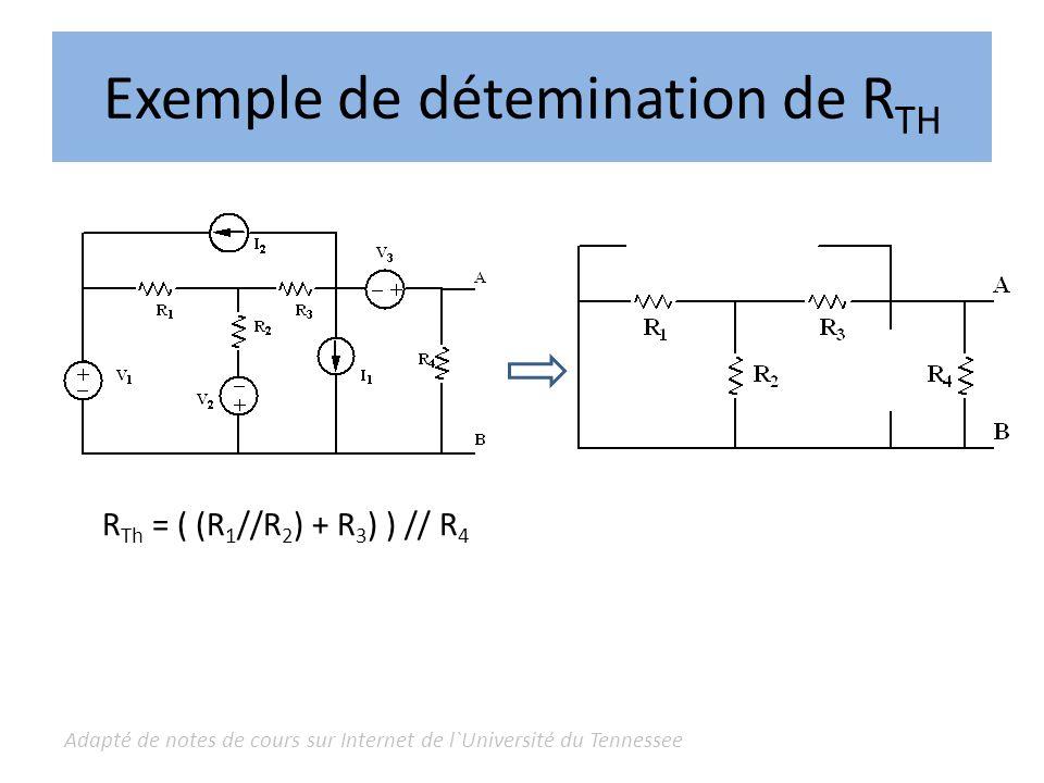 Adapté de notes de cours sur Internet de l`Université du Tennessee Exemple déquivalent de Thévenin Considérer le circuit suivant avec et sans charge : Dans le version sans charge, aucun courant ne circule dans la résistance de 4.
