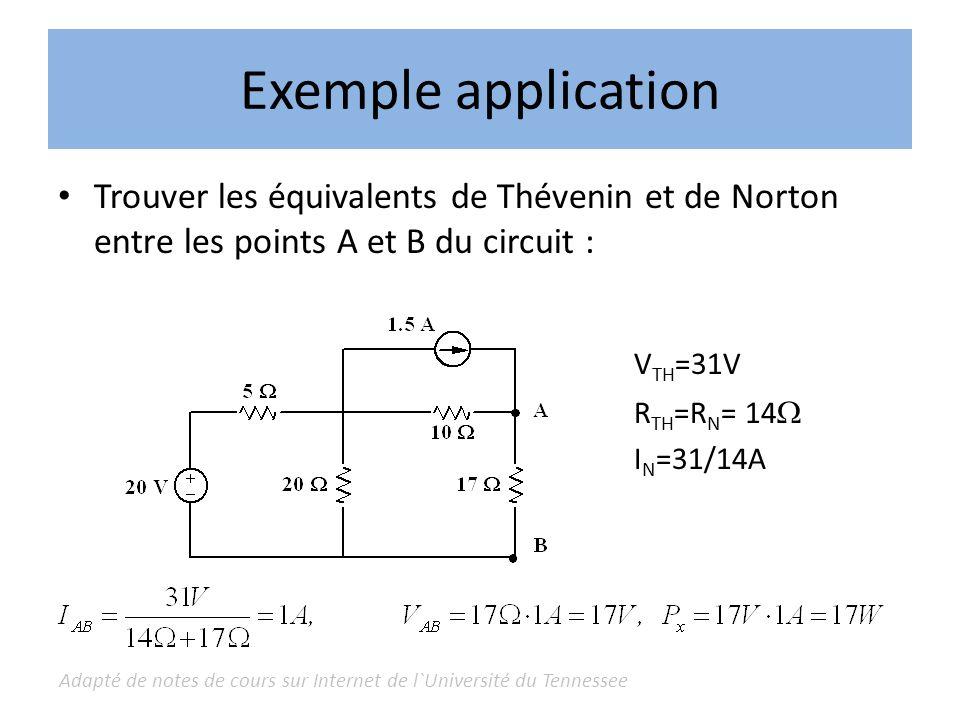 Adapté de notes de cours sur Internet de l`Université du Tennessee Exemple application Trouver les équivalents de Thévenin et de Norton entre les poin