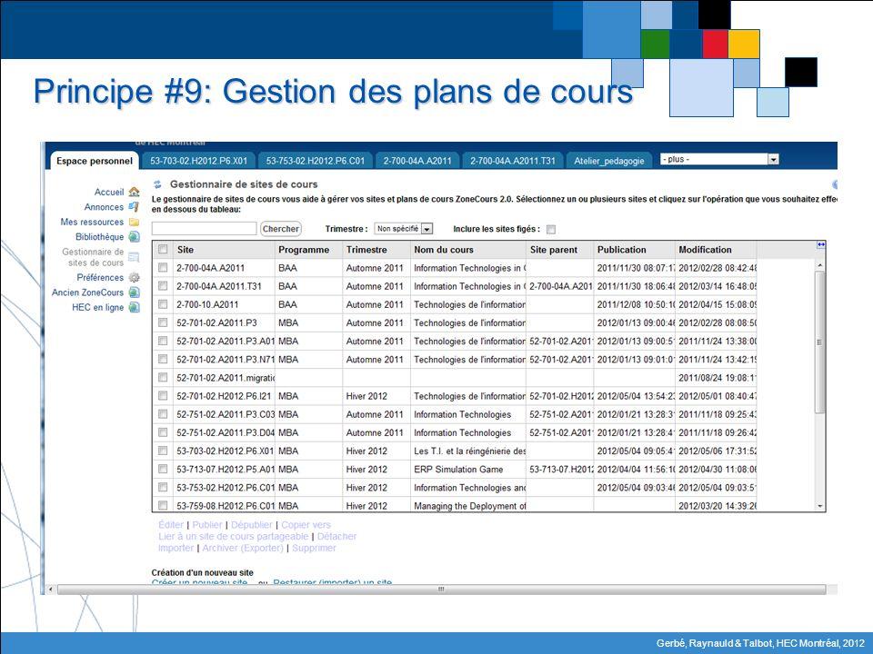 Gerbé, Raynauld & Talbot, HEC Montréal, 2012 Principe #9: Gestion des plans de cours