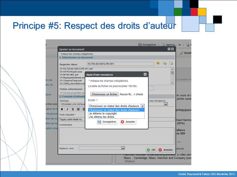 Gerbé, Raynauld & Talbot, HEC Montréal, 2012 Principe #5: Respect des droits dauteur