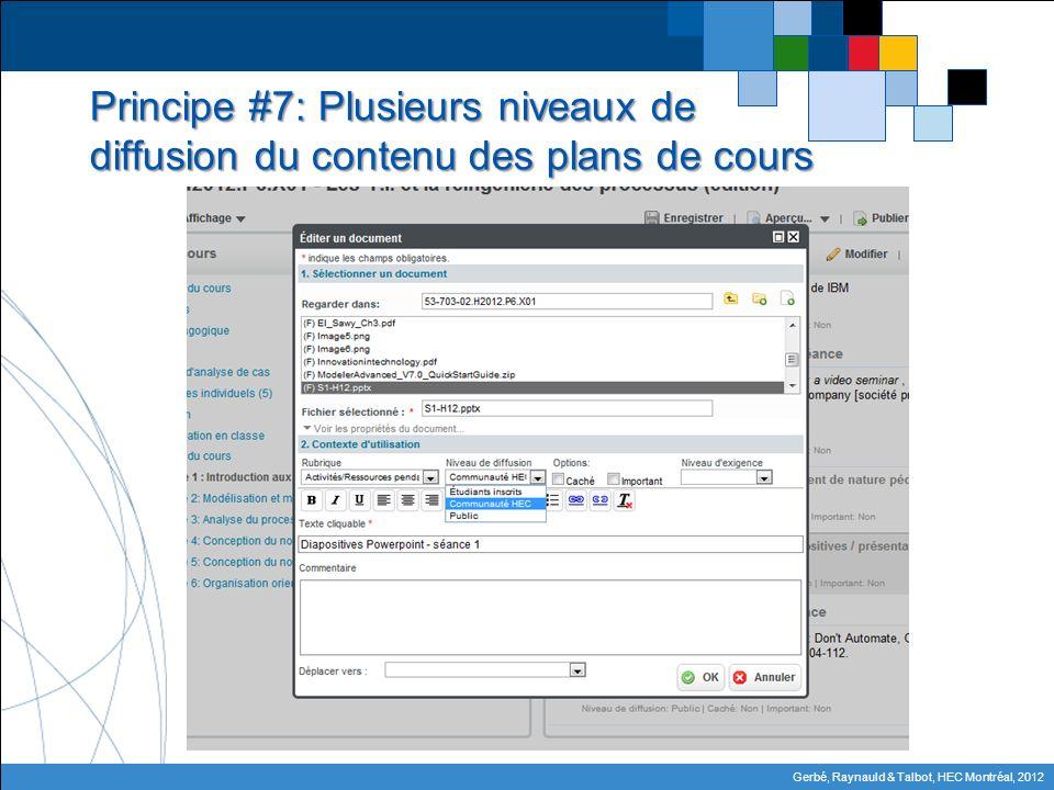Gerbé, Raynauld & Talbot, HEC Montréal, 2012 Principe #7: Plusieurs niveaux de diffusion du contenu des plans de cours