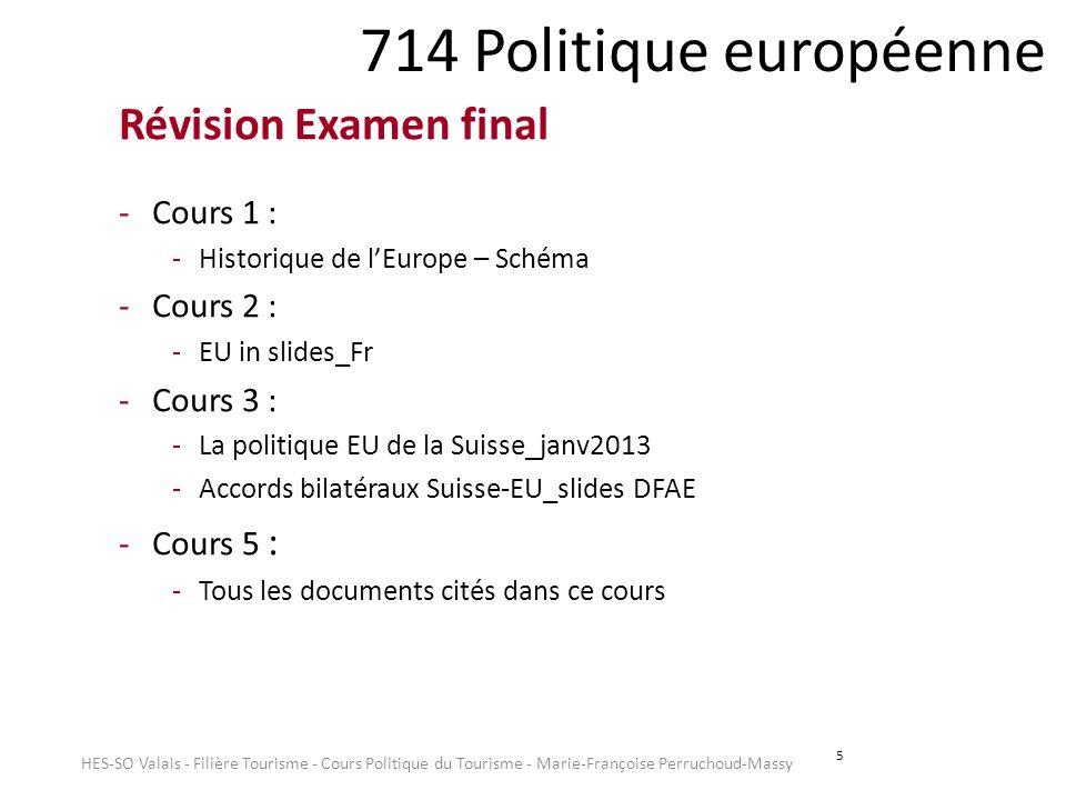 5 714 Politique européenne Révision Examen final -Cours 1 : -Historique de lEurope – Schéma -Cours 2 : -EU in slides_Fr -Cours 3 : -La politique EU de