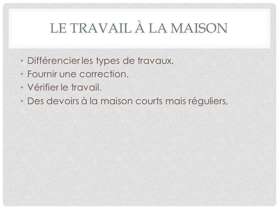 LE TRAVAIL À LA MAISON Différencier les types de travaux.