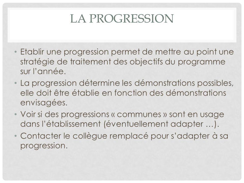 LA PROGRESSION Etablir une progression permet de mettre au point une stratégie de traitement des objectifs du programme sur lannée.