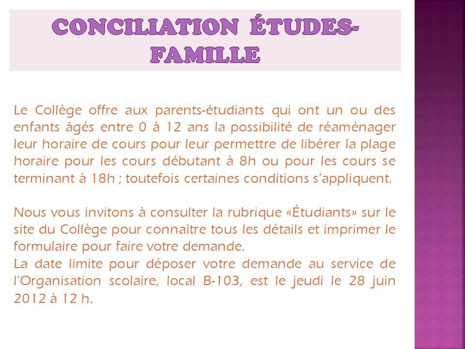 Le Collège offre aux parents-étudiants qui ont un ou des enfants âgés entre 0 à 12 ans la possibilité de réaménager leur horaire de cours pour leur pe