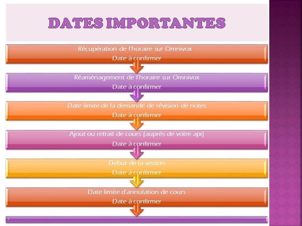 . Date limite dannulation de cours Date à confirmer Début de la session Date à confirmer Ajout ou retrait de cours (auprès de votre api) Date à confir