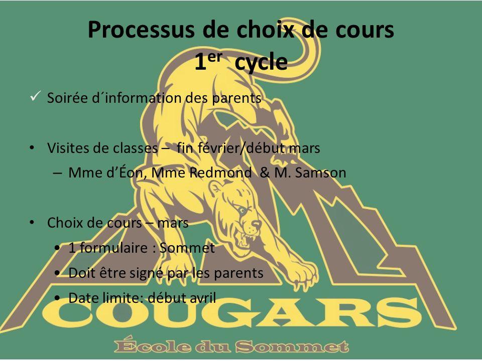 Processus de choix de cours 1 er cycle Soirée d´information des parents Visites de classes – fin février/début mars – Mme dÉon, Mme Redmond & M.