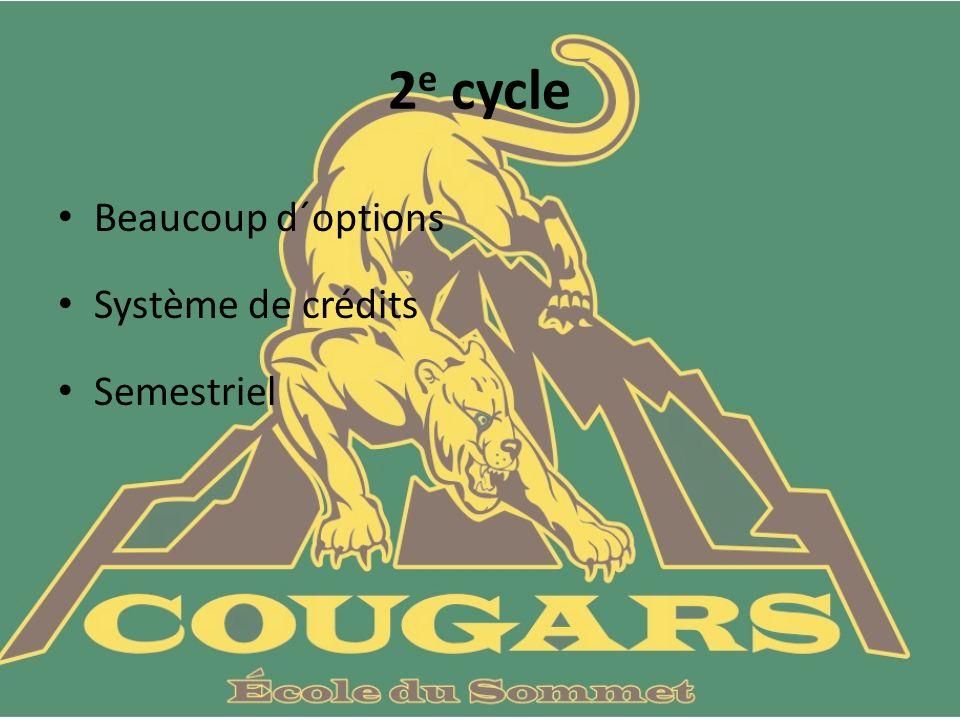 2 e cycle Beaucoup d´options Système de crédits Semestriel
