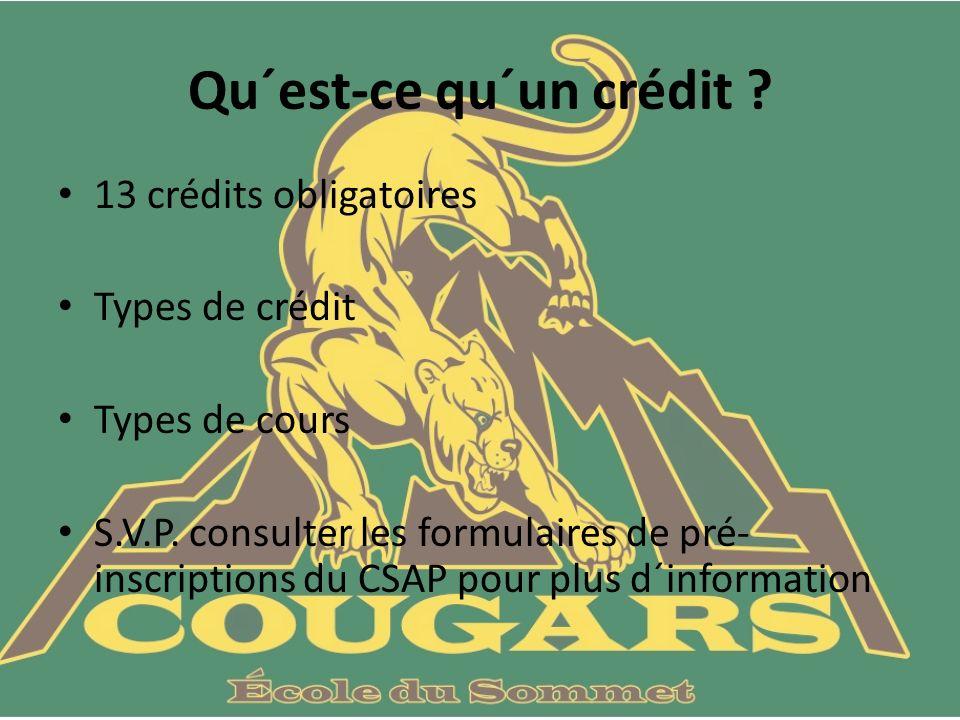 Qu´est-ce qu´un crédit . 13 crédits obligatoires Types de crédit Types de cours S.V.P.