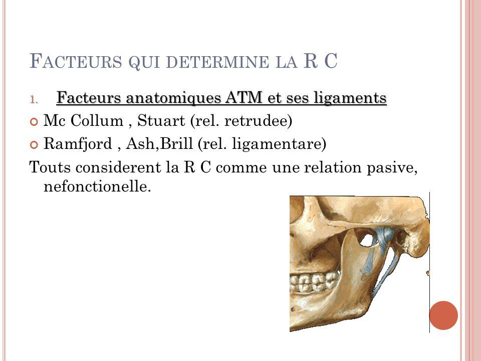 F ACTEURS QUI DETERMINE LA R C 1.Facteurs anatomiques ATM et ses ligaments Mc Collum, Stuart (rel.