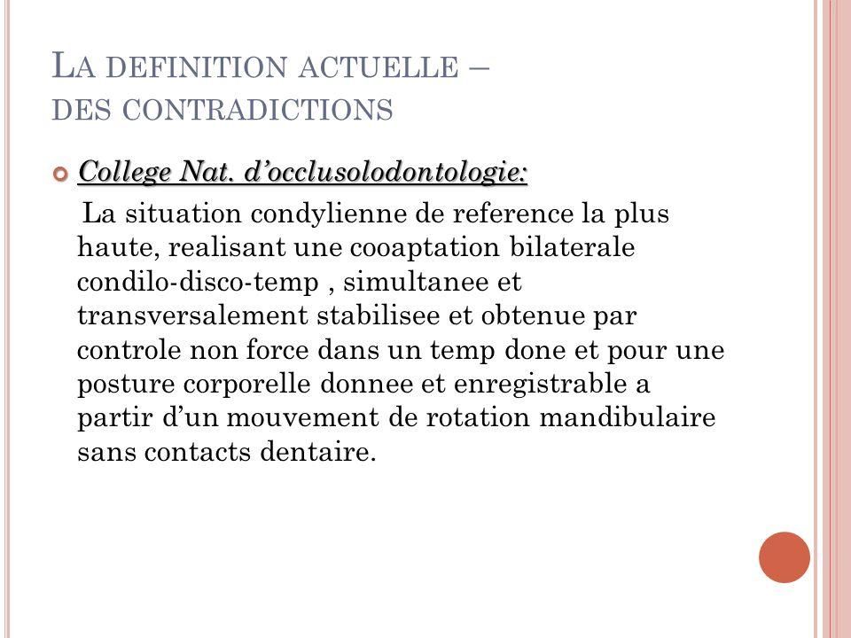 L A DEFINITION ACTUELLE – DES CONTRADICTIONS College Nat.