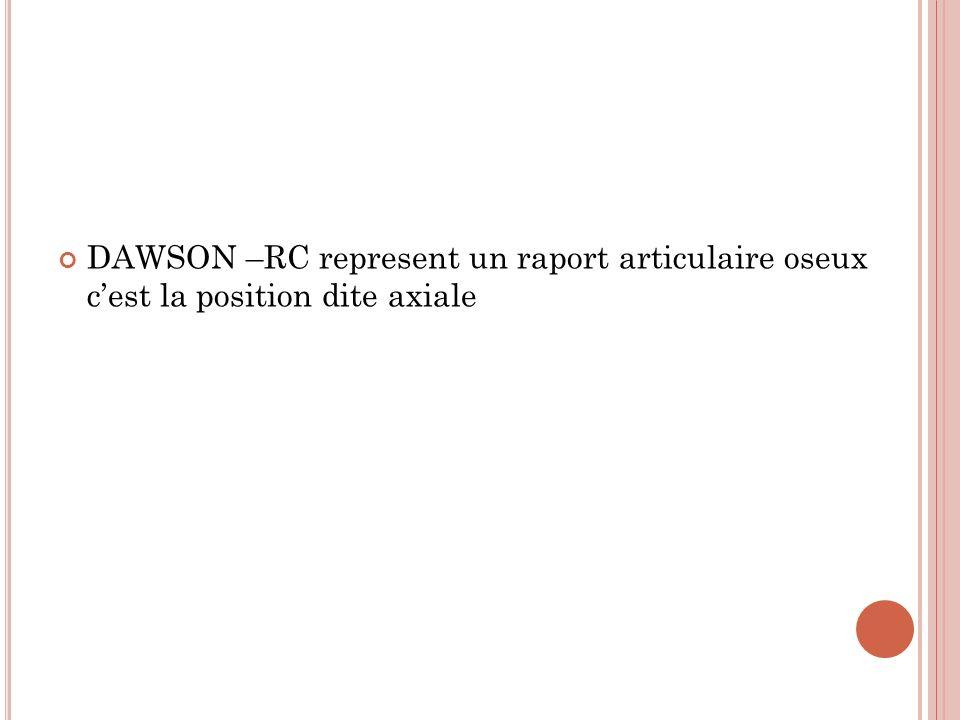 DAWSON –RC represent un raport articulaire oseux cest la position dite axiale