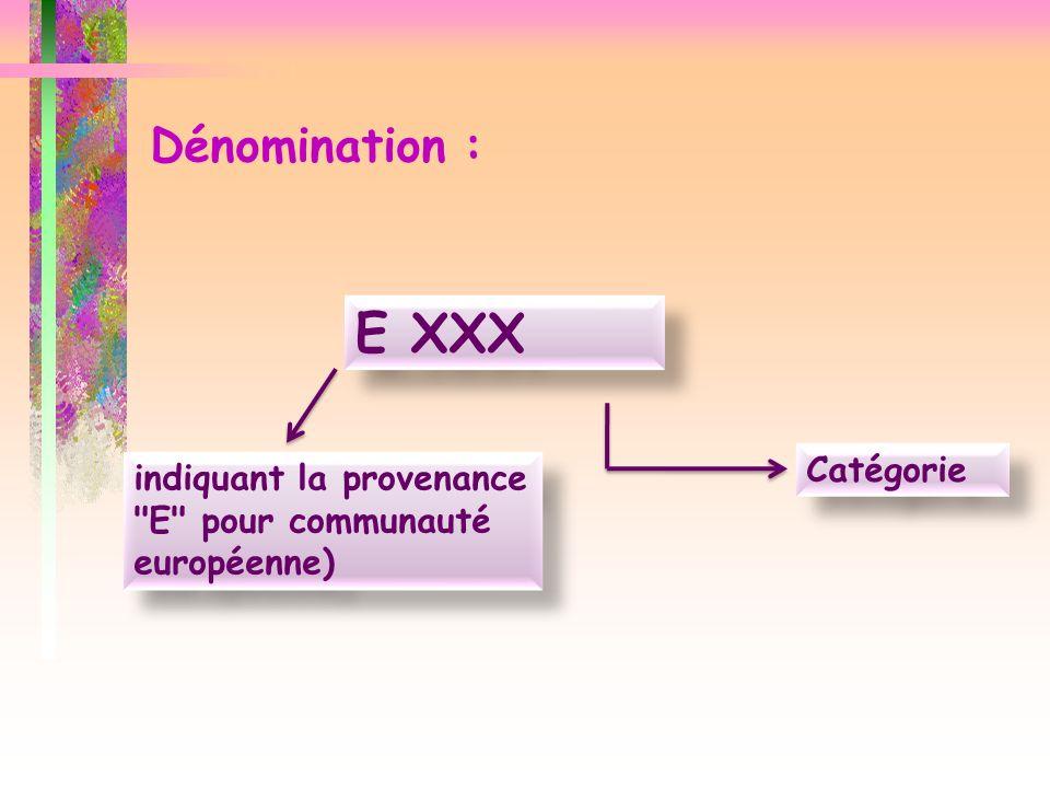 Dénomination : E XXX indiquant la provenance