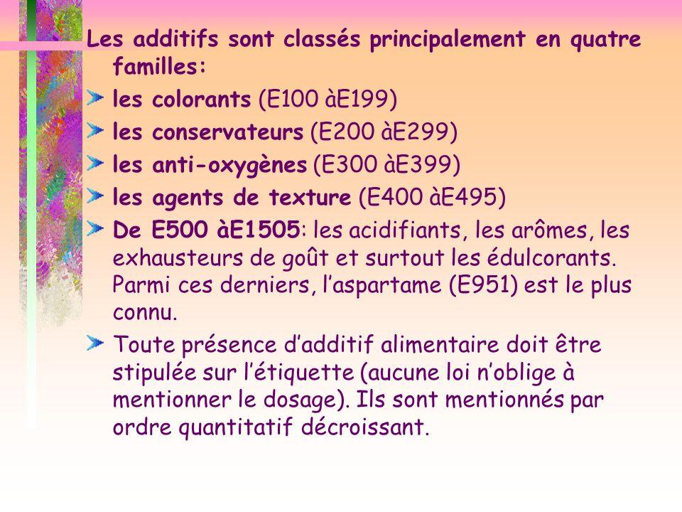 Les additifs sont classés principalement en quatre familles: les colorants (E100 àE199) les conservateurs (E200 àE299) les anti-oxygènes (E300 àE399)