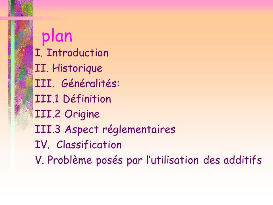 plan I. Introduction II. Historique III. Généralités: III.1 Définition III.2 Origine III.3 Aspect réglementaires IV. Classification V. Problème posés