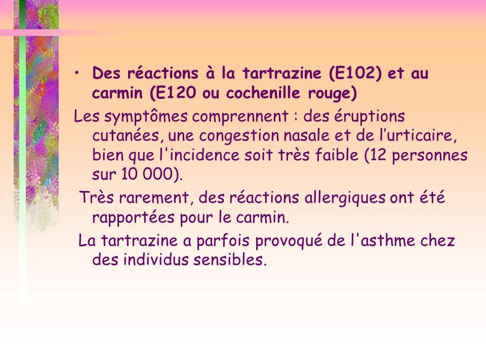 Des réactions à la tartrazine (E102) et au carmin (E120 ou cochenille rouge) Les symptômes comprennent : des éruptions cutanées, une congestion nasale