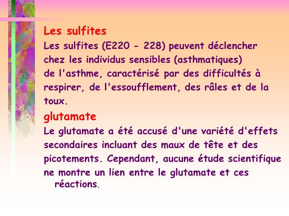 Les sulfites Les sulfites (E220 - 228) peuvent déclencher chez les individus sensibles (asthmatiques) de l'asthme, caractérisé par des difficultés à r
