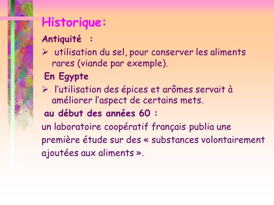Historique: Antiquité : utilisation du sel, pour conserver les aliments rares (viande par exemple). En Egypte lutilisation des épices et arômes servai