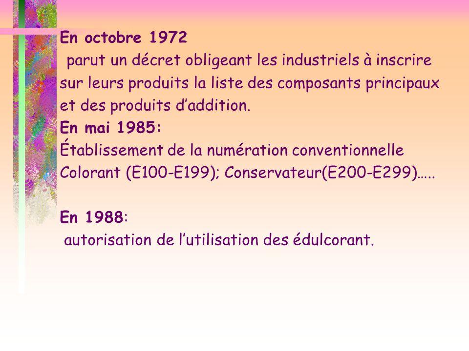 En octobre 1972 parut un décret obligeant les industriels à inscrire sur leurs produits la liste des composants principaux et des produits daddition.