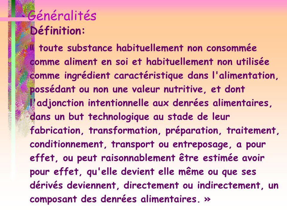 Généralités Définition: « toute substance habituellement non consommée comme aliment en soi et habituellement non utilisée comme ingrédient caractéris