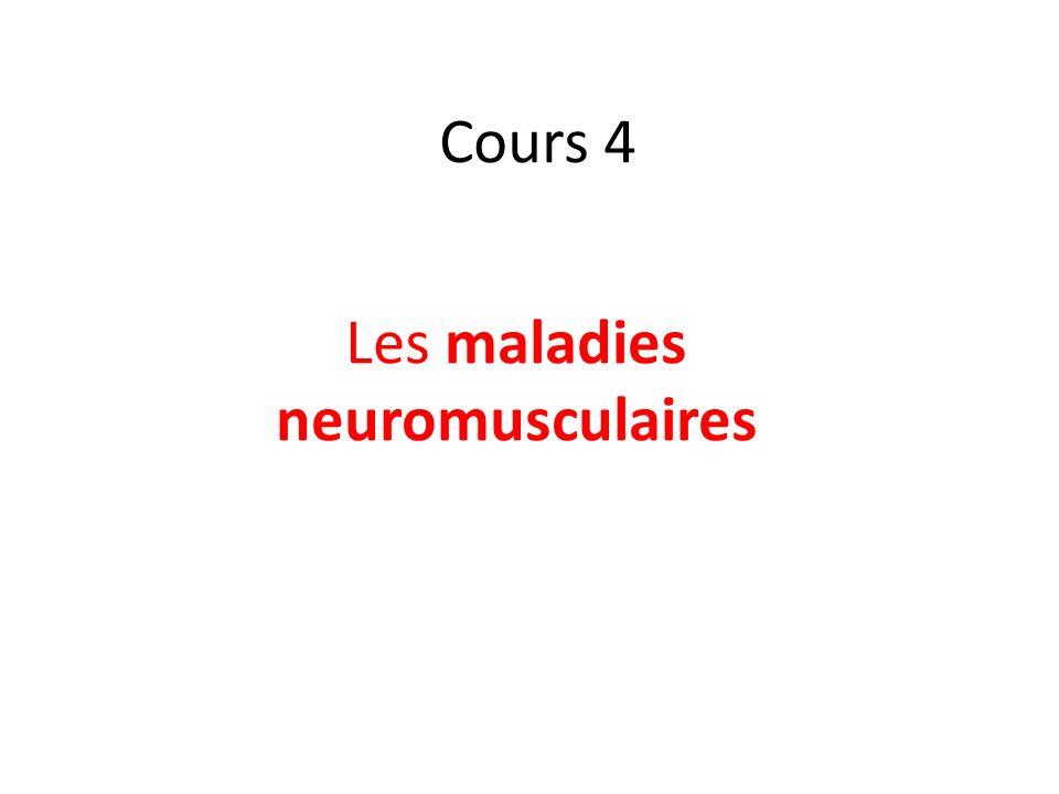 Une maladie neuromusculaire est une maladie qui affecte le fonctionnement du muscle et donc la motricité, soit directement en raison d une atteinte des fibres musculaires elles-mêmes, soit indirectement par l intermédiaire d une atteinte des autres constituants de l unité motrice : musclemotricitéfibres musculairesunité motrice jonction neuromusculaire ;jonction neuromusculaire fibre nerveuse motrice dans le système nerveux périphérique ;fibre nerveuse motricesystème nerveux périphérique corps cellulaire du motoneurone spinal dans la corne antérieure de la moelle épinière.motoneurone spinalcorne antérieuremoelle épinière Les maladies neuromusculaires sont extrêmement nombreuses et parmi elles, on peut citer, selon la topographie de l atteinte : les myopathies ;myopathies la myasthénie ;myasthénie les neuropathies périphériques ;neuropathies périphériques la sclérose latérale amyotrophique et les amyotrophies spinales.sclérose latérale amyotrophiqueamyotrophies spinales Les causes des maladies neuromusculaires peuvent être: primitives : Maladies génétiques ou autoimmunes ;Maladies génétiquesautoimmunes secondaires : infection bactérienne ou virale, maladies endocriniennes, exposition à une substance toxique.infectionbactérienneviralemaladies endocriniennes