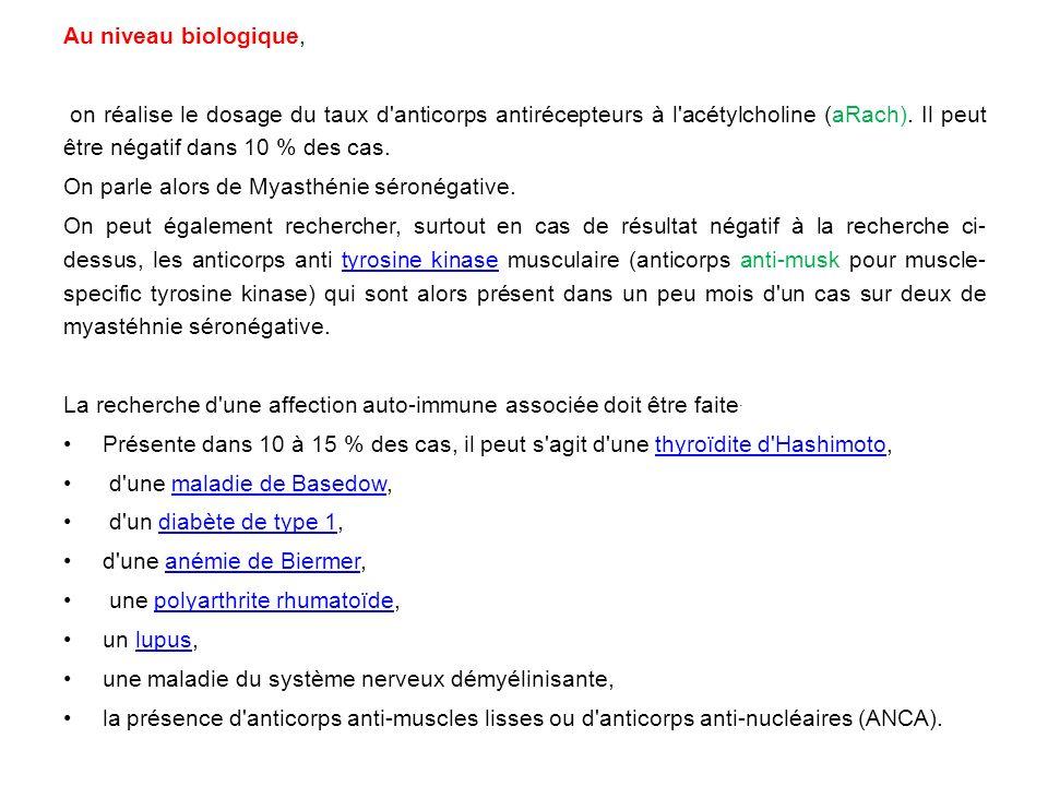 Au niveau biologique, on réalise le dosage du taux d'anticorps antirécepteurs à l'acétylcholine (aRach). Il peut être négatif dans 10 % des cas. On pa