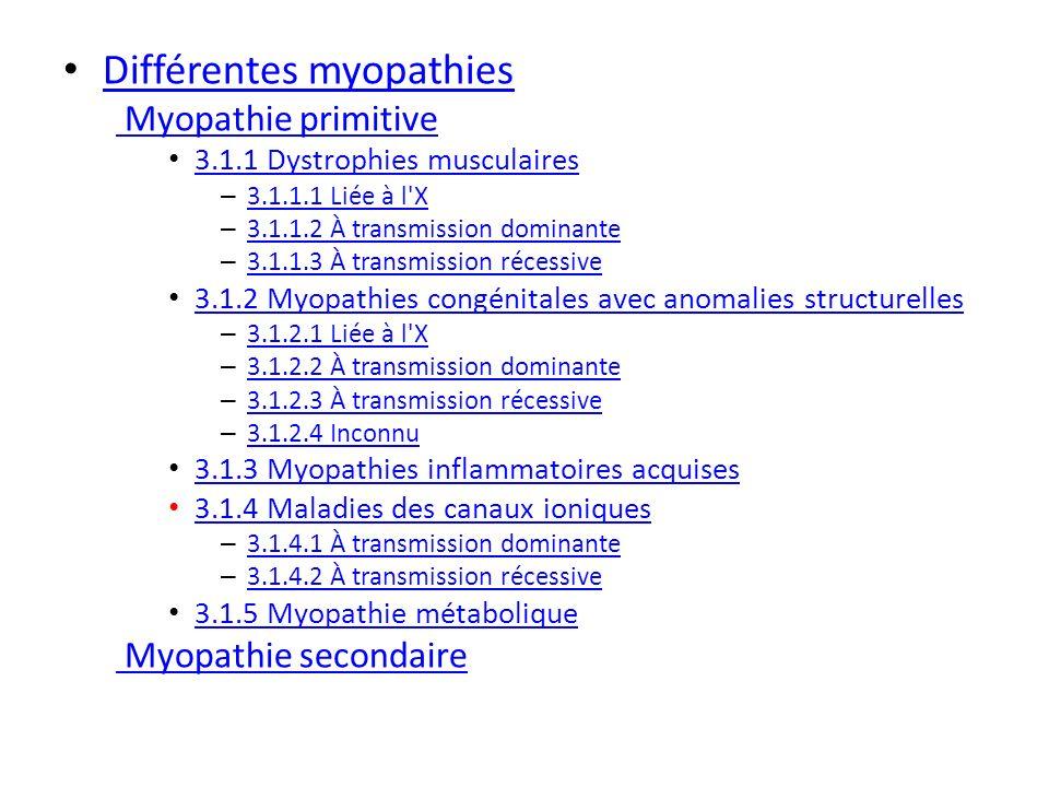 Différentes myopathies Myopathie primitive 3.1.1 Dystrophies musculaires – 3.1.1.1 Liée à l'X 3.1.1.1 Liée à l'X – 3.1.1.2 À transmission dominante 3.